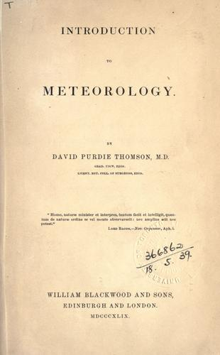Introduction to meteorology.