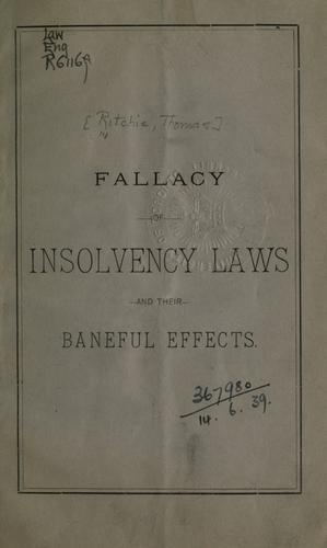 Download Fallacy of insolvency laws and their baneful effects.