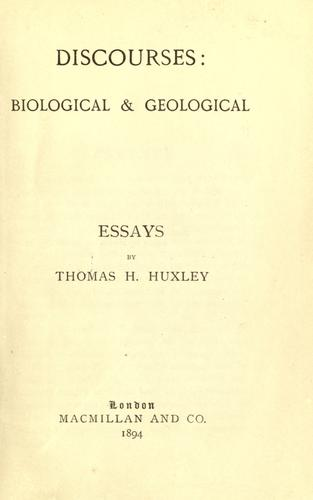 Discourses; biological & geological