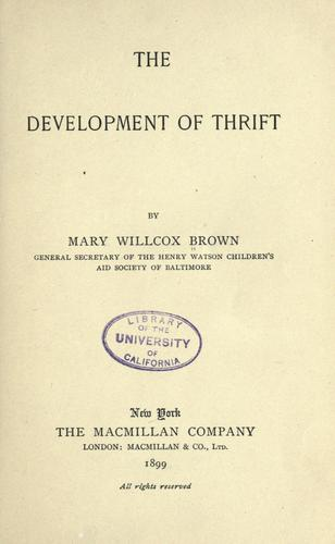 The development of thrift
