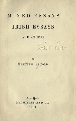 Mixed essays by Matthew Arnold