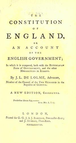 Constitution of England; or, An account of the English government …