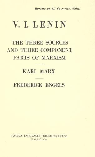 Download The three sources and three component parts of Marxism.