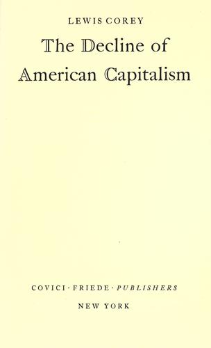 Download The decline of American capitalism.