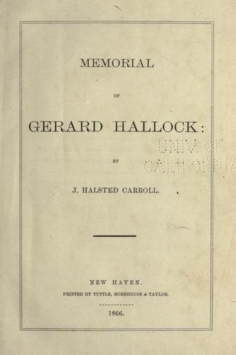 Download Memorial of Gerard Hallock