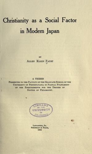 Download Christianity as a social factor in modern Japan