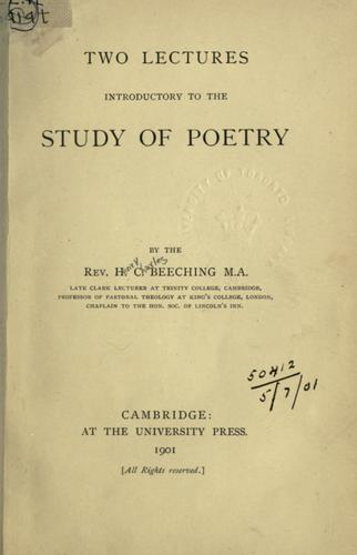 Two lectures introductory to the study of poetry.
