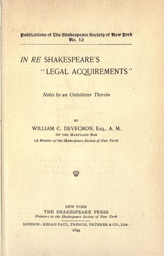 "In re Shakespeare's ""legal acquirements""."
