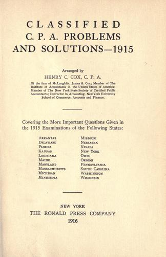 Classified C.P.A. problems and solutions – 1915.