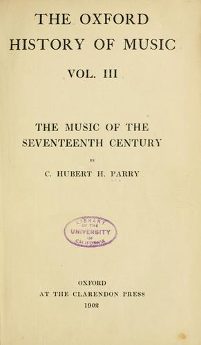The music of the seventeenth century