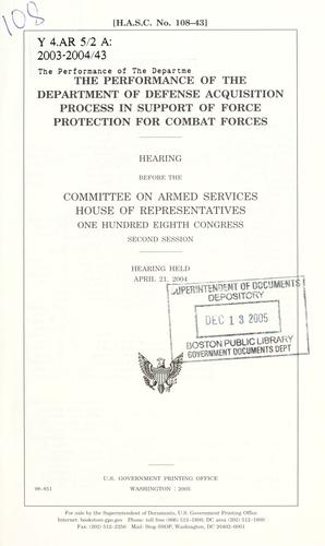 Download The performance of the Department of Defense acquisition process in support of force protection for combat forces