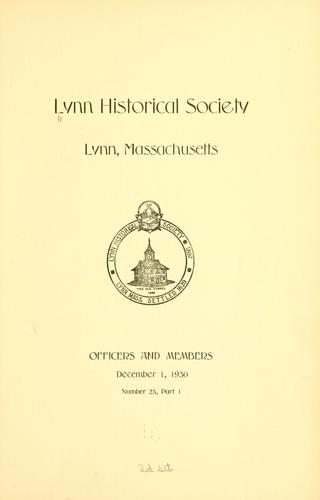 The register of the Lynn historical society, Lynn, Massachusetts.