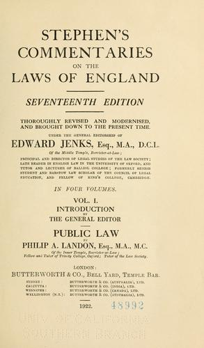 Stephen's Commentaries on the laws of England.