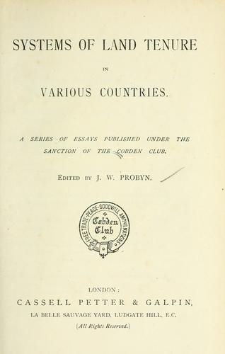Download Systems of land tenure in various countries