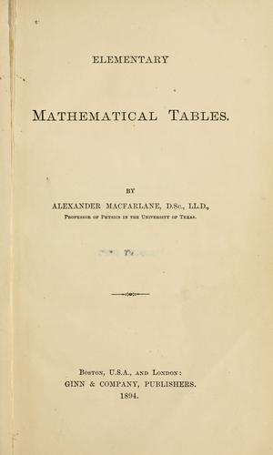 Download Elementary mathematical tables.