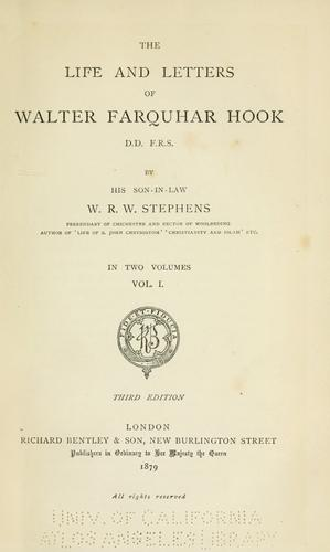 The life and letters of Walter Farquhar Hook.