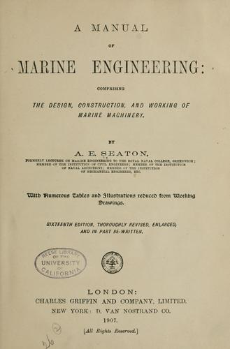A manual of marine engineering