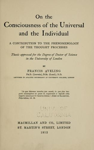 Download On the consciousness of the universal and the individual