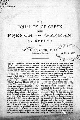 The equality of Greek with French and German (a reply)