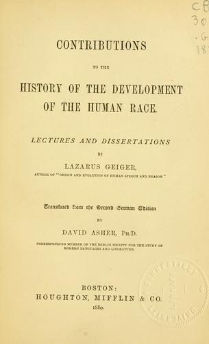 Download Contributions to the history of the development of the human race