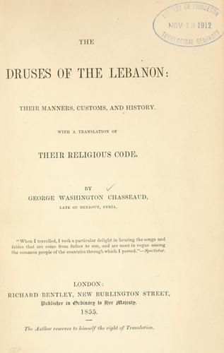 The Druses of the Lebanon