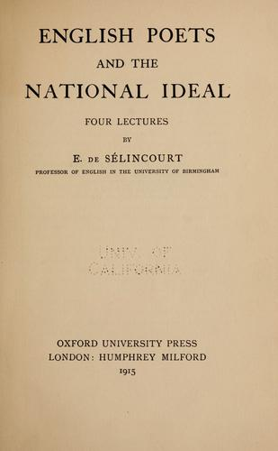 Download English poets and the national ideal