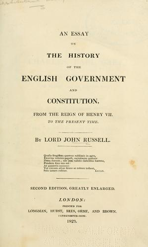 An essay on the history of the English government and constitution