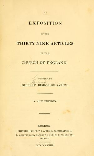 Exposition of the Thirty-nine articles of the Church of England