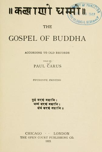 The gospel of Buddha, according to old records