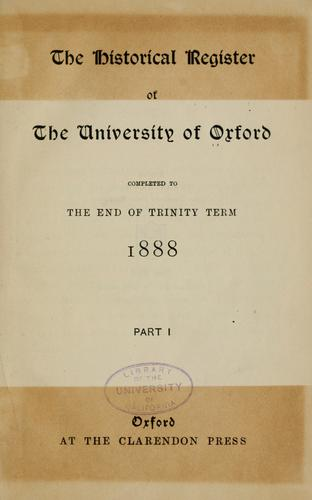 The historical register of the University of Oxford