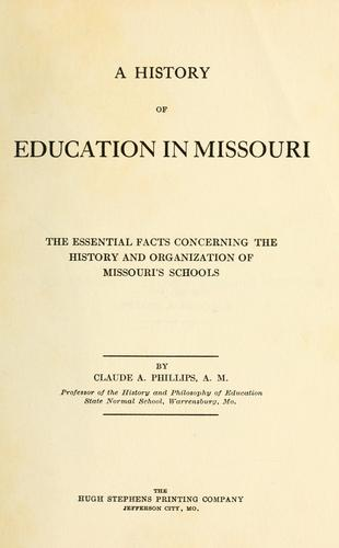 Download A history of education in Missouri