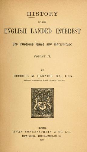 Download History of the English landed interest