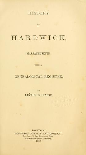 Download History of Hardwick, Massachusetts.