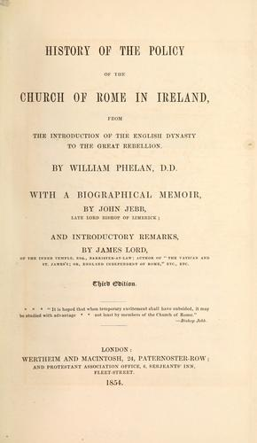 History of the policy of the Church of Rome in Ireland