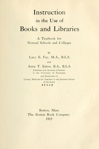Instruction in the use of books and libraries