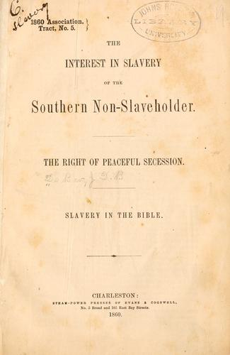 The interest in slavery of the southern non-slaveholder.