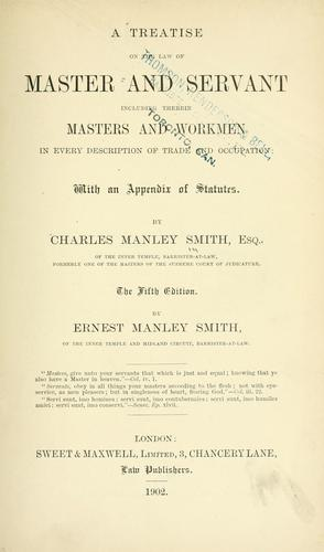 Download A treatise on the law of master and servant