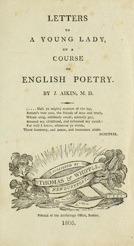 Download Letters to a young lady on a course of English poetry