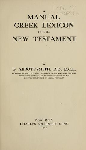 Download A manual Greek lexicon of the New Testament.