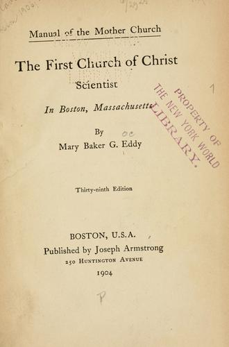 Download Manual of the mother church, The First Church of Christ, Scientist, in Boston, Massachusetts