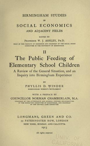 The public feeding of elementary school children by Phyllis Devereux Winder