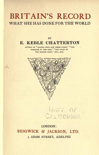 Britain's record by E. Keble Chatterton