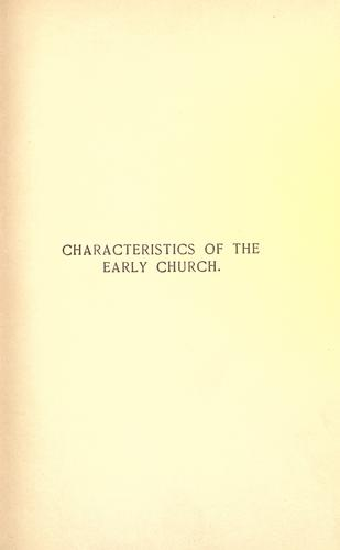 Characteristics of the early church by Burke, John J.