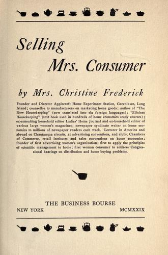 Selling Mrs. Consumer by