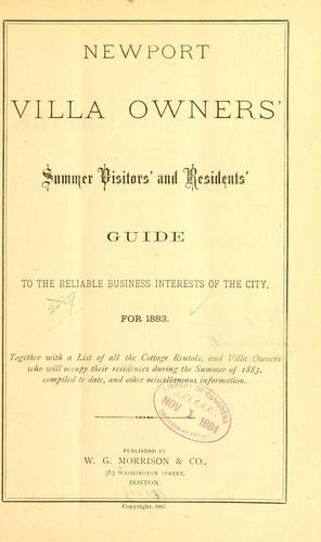 Newport villa owners' summer visitors' and residents' guide to the reliable business interests of the city by Morrison, W. G., & co., Boston, pub