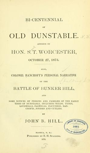 Reminiscences of old Dunstable. by John Boynton Hill