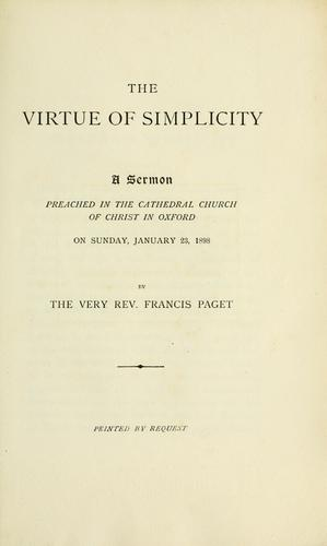 The virtue of simplicity by Francis Paget