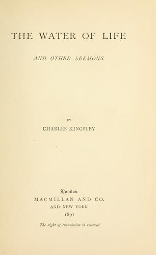 The water of life by Charles Kingsley