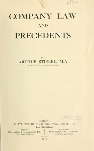 Company law and precedents by Arthur Stiebel