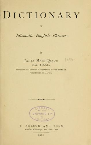 Dictionary of idiomatic English phrases